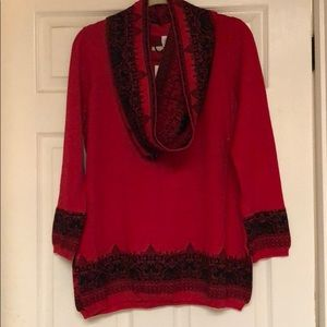 NY Collection Red and Black Long Sleeve Sweater